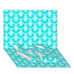 Awesome Retro Pattern Turquoise Love Bottom 3d Greeting Card (7x5)