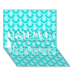 Awesome Retro Pattern Turquoise YOU ARE INVITED 3D Greeting Card (7x5)
