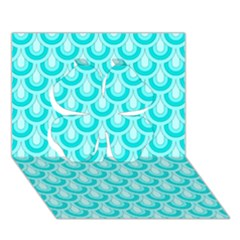 Awesome Retro Pattern Turquoise Clover 3d Greeting Card (7x5)