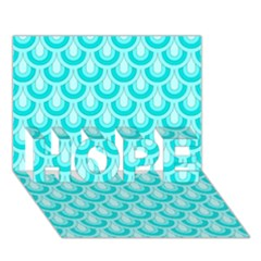 Awesome Retro Pattern Turquoise Hope 3d Greeting Card (7x5)