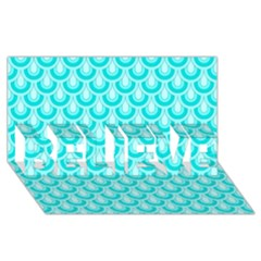 Awesome Retro Pattern Turquoise BELIEVE 3D Greeting Card (8x4)