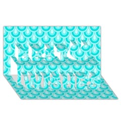 Awesome Retro Pattern Turquoise Best Wish 3D Greeting Card (8x4)