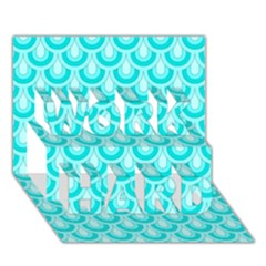 Awesome Retro Pattern Turquoise WORK HARD 3D Greeting Card (7x5)