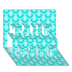 Awesome Retro Pattern Turquoise Take Care 3d Greeting Card (7x5)