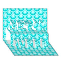 Awesome Retro Pattern Turquoise Get Well 3D Greeting Card (7x5)