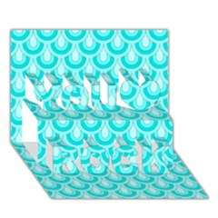 Awesome Retro Pattern Turquoise You Rock 3d Greeting Card (7x5)