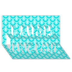 Awesome Retro Pattern Turquoise Laugh Live Love 3d Greeting Card (8x4)