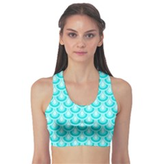 Awesome Retro Pattern Turquoise Sports Bra