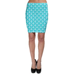Awesome Retro Pattern Turquoise Bodycon Skirts