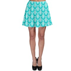 Awesome Retro Pattern Turquoise Skater Skirts