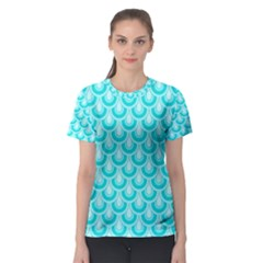 Awesome Retro Pattern Turquoise Women s Sport Mesh Tees