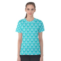 Awesome Retro Pattern Turquoise Women s Cotton Tees