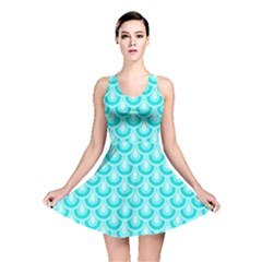 Awesome Retro Pattern Turquoise Reversible Skater Dresses