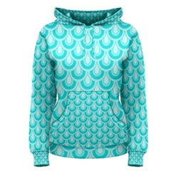 Awesome Retro Pattern Turquoise Women s Pullover Hoodies