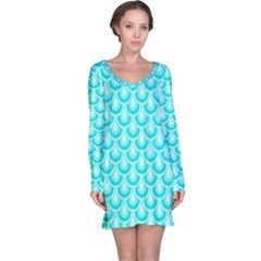 Awesome Retro Pattern Turquoise Long Sleeve Nightdresses