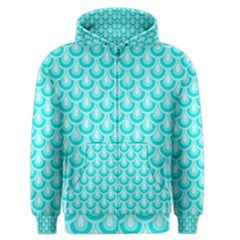 Awesome Retro Pattern Turquoise Men s Zipper Hoodies