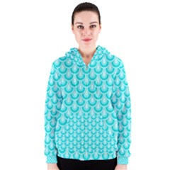 Awesome Retro Pattern Turquoise Women s Zipper Hoodies