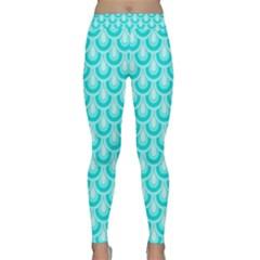 Awesome Retro Pattern Turquoise Yoga Leggings