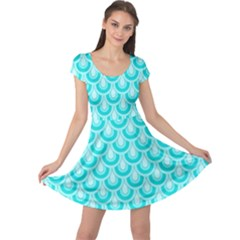 Awesome Retro Pattern Turquoise Cap Sleeve Dresses