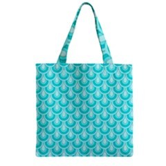 Awesome Retro Pattern Turquoise Zipper Grocery Tote Bags