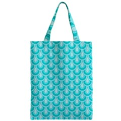 Awesome Retro Pattern Turquoise Zipper Classic Tote Bags