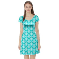 Awesome Retro Pattern Turquoise Short Sleeve Skater Dresses
