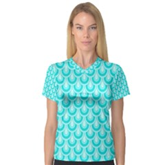 Awesome Retro Pattern Turquoise Women s V Neck Sport Mesh Tee