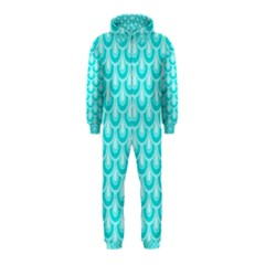 Awesome Retro Pattern Turquoise Hooded Jumpsuit (Kids)