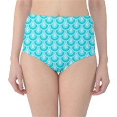 Awesome Retro Pattern Turquoise High-Waist Bikini Bottoms