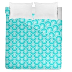 Awesome Retro Pattern Turquoise Duvet Cover (full/queen Size)
