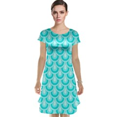 Awesome Retro Pattern Turquoise Cap Sleeve Nightdresses