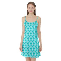 Awesome Retro Pattern Turquoise Satin Night Slip