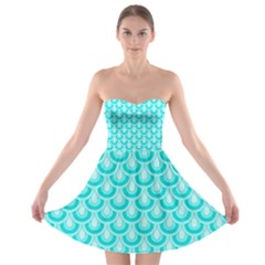 Awesome Retro Pattern Turquoise Strapless Bra Top Dress