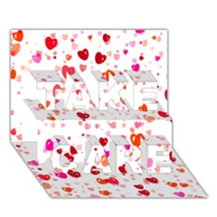 Heart 2014 0602 TAKE CARE 3D Greeting Card (7x5)