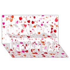 Heart 2014 0602 Happy New Year 3D Greeting Card (8x4)