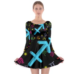 Sagittarius Floating Zodiac Sign Long Sleeve Skater Dress