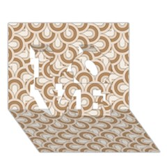 Retro Mirror Pattern Brown Love 3d Greeting Card (7x5)