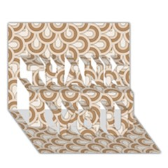 Retro Mirror Pattern Brown THANK YOU 3D Greeting Card (7x5)