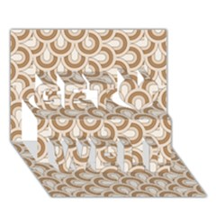 Retro Mirror Pattern Brown Get Well 3D Greeting Card (7x5)