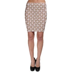 Retro Mirror Pattern Brown Bodycon Skirts
