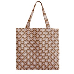 Retro Mirror Pattern Brown Zipper Grocery Tote Bags