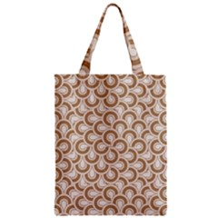 Retro Mirror Pattern Brown Zipper Classic Tote Bags