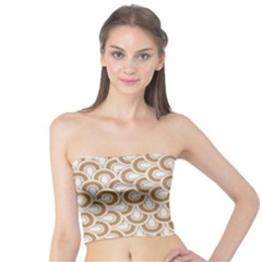 Retro Mirror Pattern Brown Women s Tube Tops