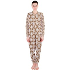 Retro Mirror Pattern Brown OnePiece Jumpsuit (Ladies)