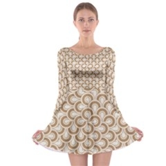 Retro Mirror Pattern Brown Long Sleeve Skater Dress