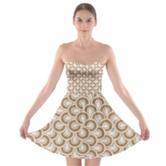 Retro Mirror Pattern Brown Strapless Bra Top Dress