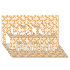 Retro Mirror Pattern Peach Best Friends 3D Greeting Card (8x4)