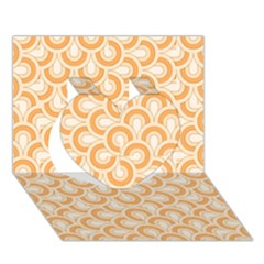 Retro Mirror Pattern Peach Heart 3D Greeting Card (7x5)