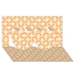 Retro Mirror Pattern Peach Twin Hearts 3d Greeting Card (8x4)