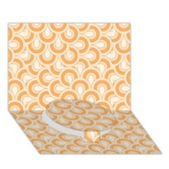 Retro Mirror Pattern Peach Circle Bottom 3D Greeting Card (7x5)